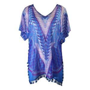 INC international Concepts top blue tassel blouse